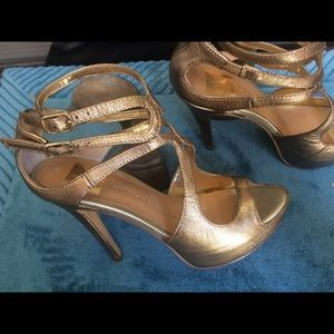 Gold, ankle strap sandals